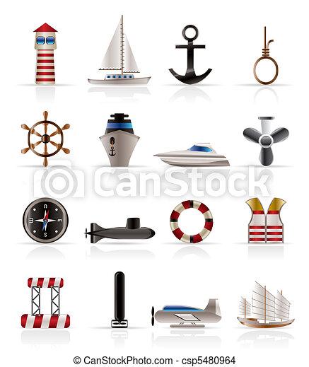 Marine, Sailing and Sea Icons  - csp5480964