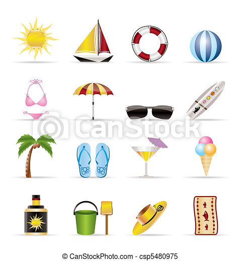 Realistic Summer and Holiday Icons - csp5480975