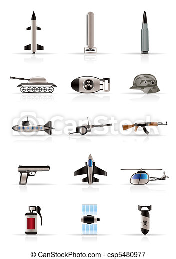 Realistic weapon, arms and war icon - csp5480977