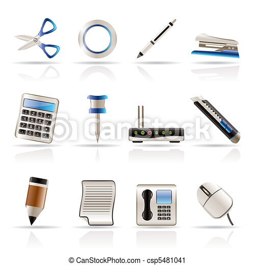 Realistic Business and Office Icons - csp5481041
