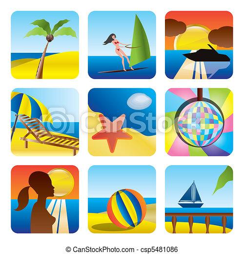 clip art vecteur de vacances t mer ic nes vacances t et mer ic nes csp5481086. Black Bedroom Furniture Sets. Home Design Ideas