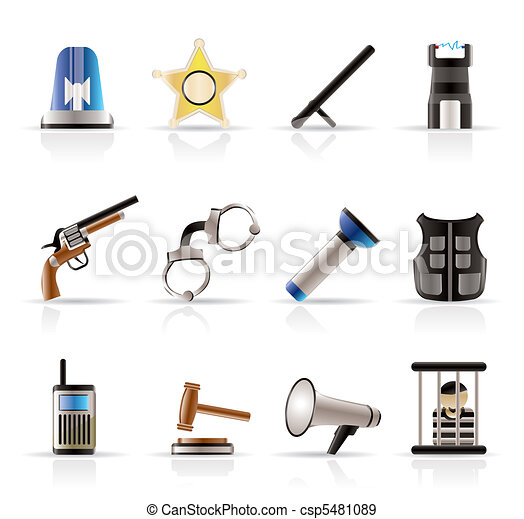 law, order, police and crime icons - csp5481089