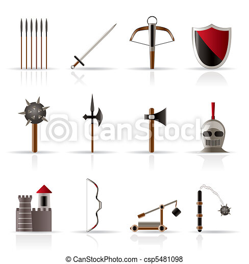 medieval arms and objects icons - csp5481098