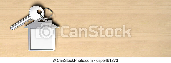 house symbol keyring and a key over a wooden background there is copy space fot text, real-este symbol - csp5481273