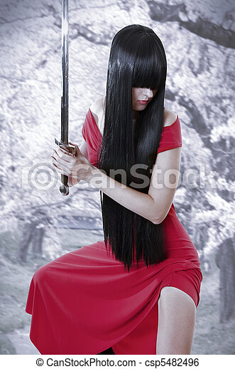dangerous sexual mystery asian girl. Anime style - csp5482496