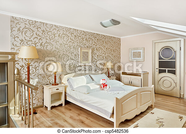 Modern art deco style bedroom interior in light beige colors  - csp5482536