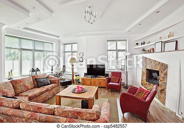 Plaatje van stijl deco kunst tv moderne interieur openhaard csp5482557 zoek naar - Kamer deco stijl ...