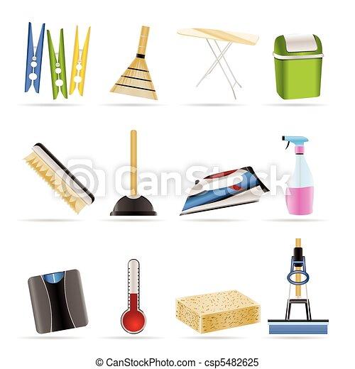 Clipart vectorial de hogar objetos herramientas iconos for Objetos decoracion hogar