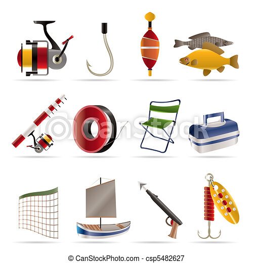 Fishing and holiday icons  - csp5482627