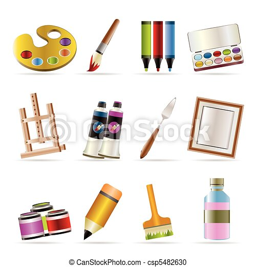painter, drawing and painting icons - csp5482630