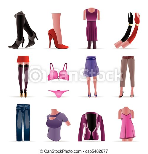 woman and female clothes icons - csp5482677