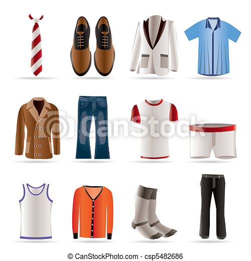 man fashion and clothes icons - csp5482686