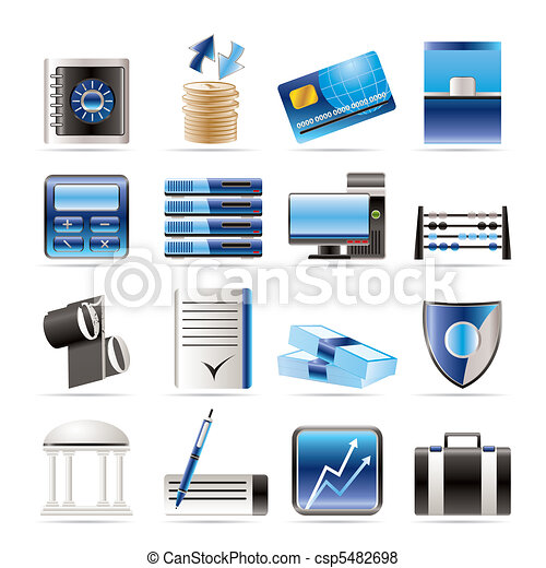 bank, business, finance icons - csp5482698