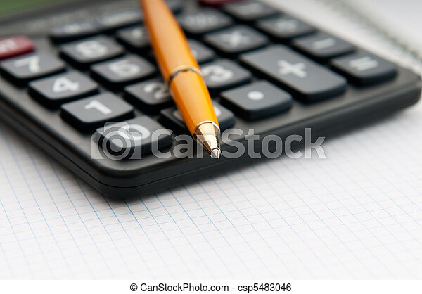 Business concept with accounting calculator  - csp5483046