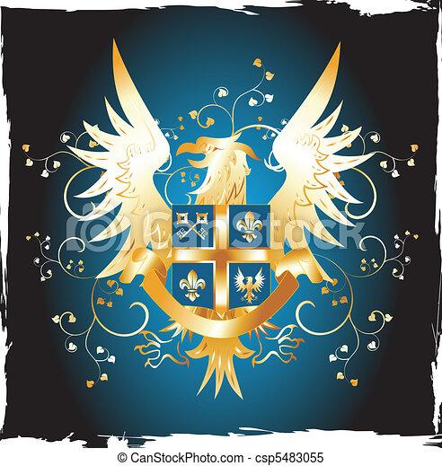 Grunge shield with golden eagle and fleur-de-lis - csp5483055