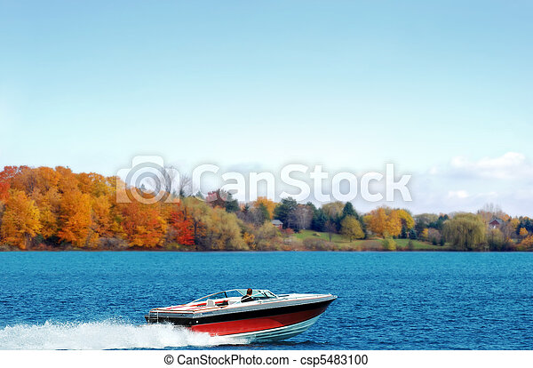 power boating on an autumn lake - csp5483100