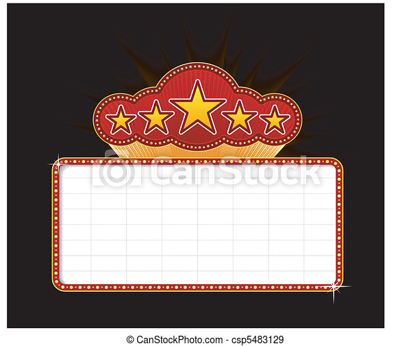 Blank movie, theater or casino marquee - csp5483129