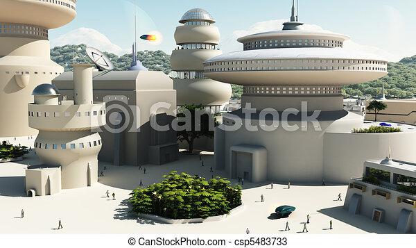 Futuristic Sci-Fi townscape - csp5483733