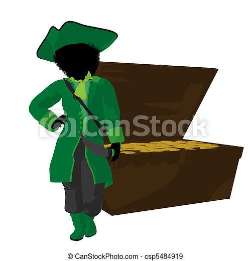African American Teen Pirate Illustration Silhouette - csp5484919