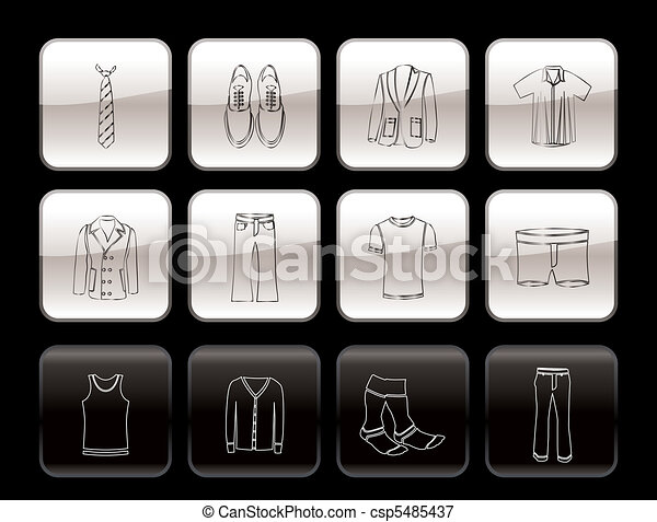 man fashion and clothes icons - csp5485437