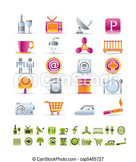 Hotel and Motel objects icons  - csp5485727