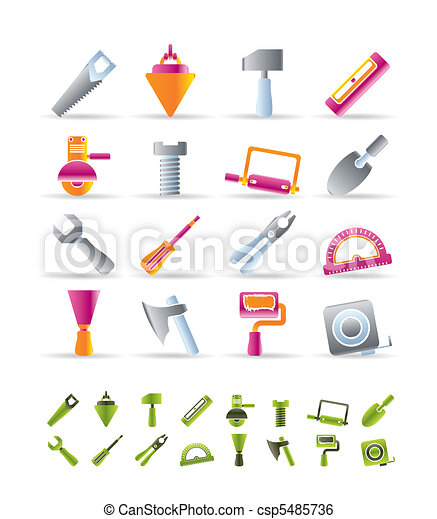 Clip Art Vector of Building and Construction Tools icons - Vector ...