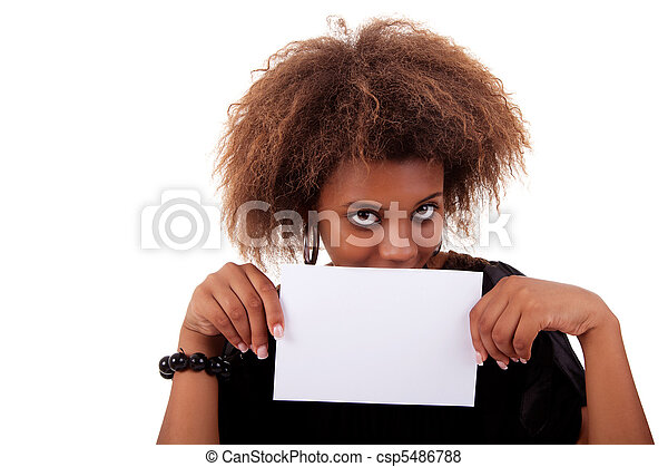 beautiful black woman person with blank business card in hand, isolated on white background. Studio shot. - csp5486788