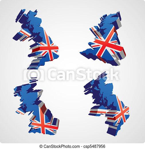 Four UK 3d views - csp5487956