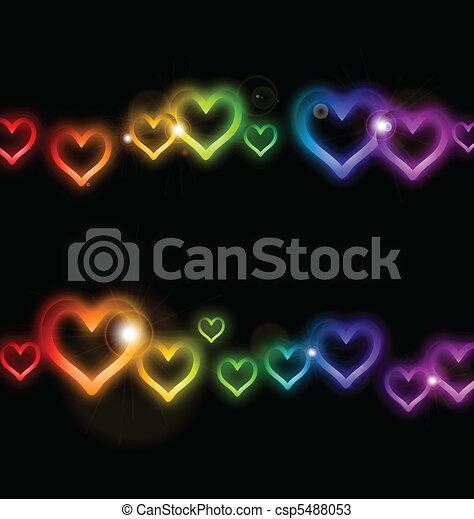 Rainbow Heart frame with Sparkles. Vector - csp5488053