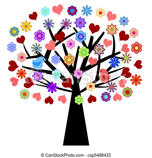 Valentines Day Tree with Love Birds Hearts Flowers - csp5488433