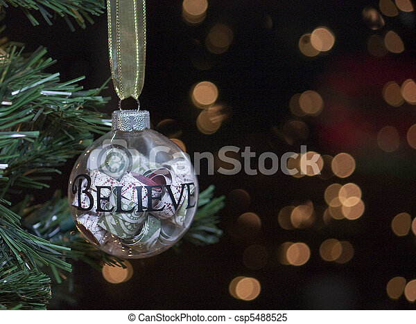 Believe Christmas Tree Ornament  - csp5488525