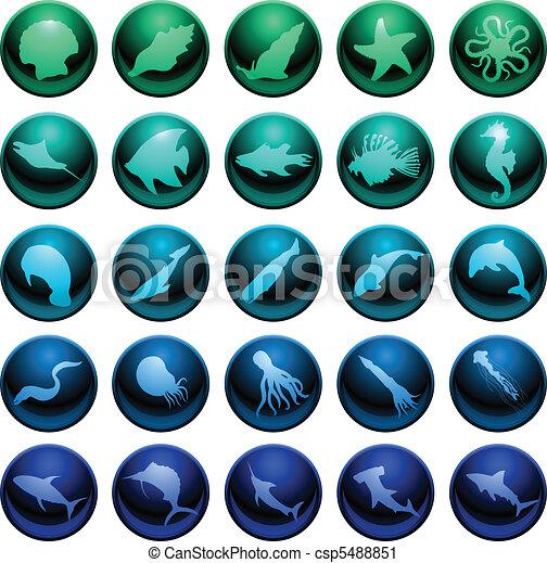 Sea life icon set - csp5488851