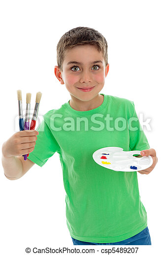 Happy child ready for art and craft - csp5489207