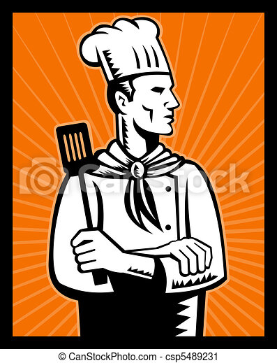 Clipart de chef cuistot cuisinier retro tenue spatule for Cuisinier bras