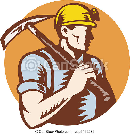 Clip Art of Coal miner at work with pick ax - illustration of a ...