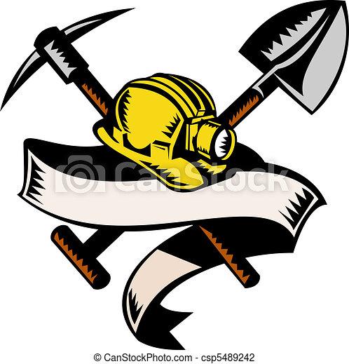 Ilustración, carbón, minero, Hardhat, sombrero, pala, o, pala, pico, rúbrica, aislado, blanco, hecho, Retro, Woodcut, estilo - csp5489242