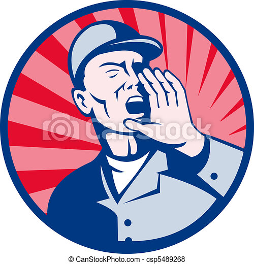 worker shouting hands on mouth  - csp5489268
