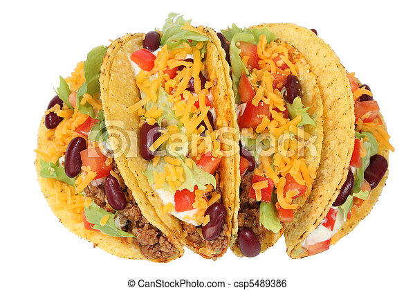 Delicious Mexican tacos isolated over white background - csp5489386