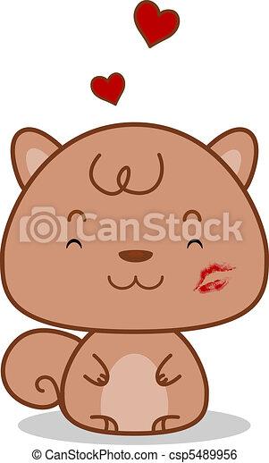 Squirrel Kiss Mark - csp5489956