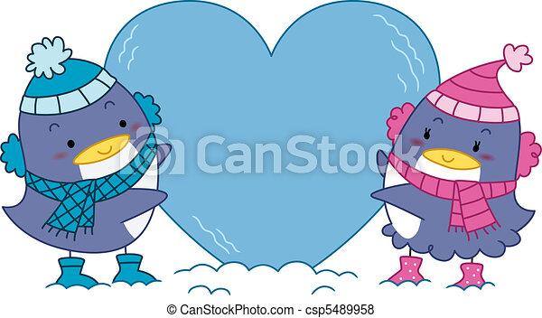 Penguin Couple Drawing Penguin Couple Csp5489958