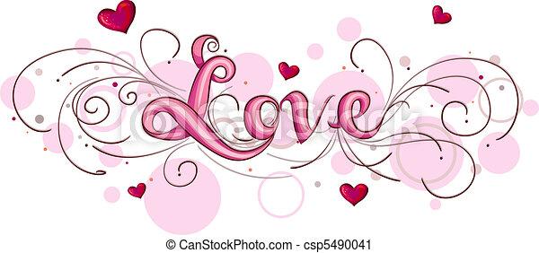 Clipart of Love Lettering - Cute Lettering Featuring the ...