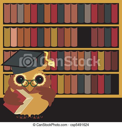 nice owl with books - csp5491624