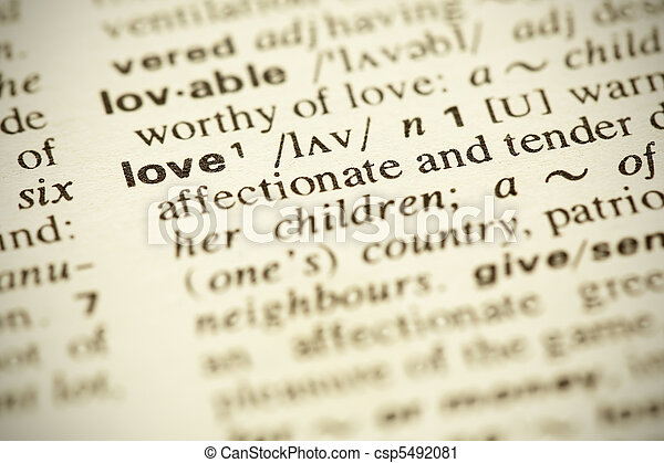 "Dictionary definition of the word ""LOVE"" in English - csp5492081"