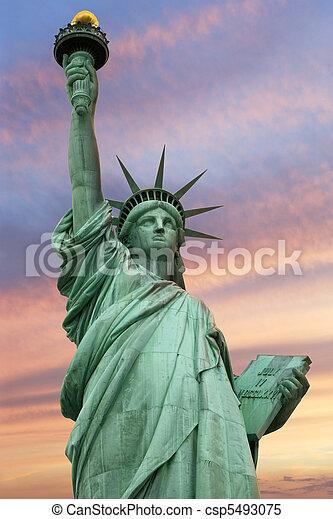 Statue of Liberty under a vivid sky - csp5493075