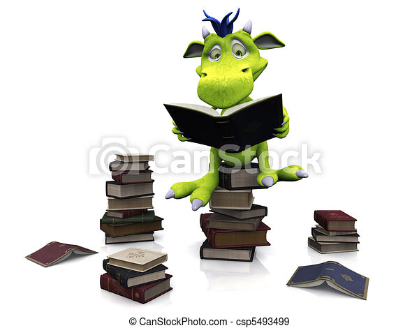 Cute cartoon monster sitting on a pile of books. - csp5493499