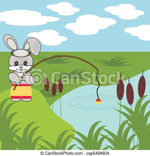nice fishing hare with rob - csp5494604