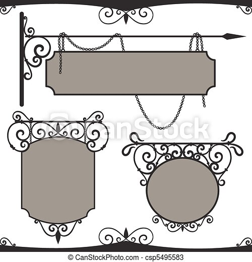 Vintage wrought iron signs. - csp5495583