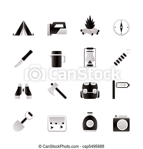 tourism and hiking icons - csp5495688