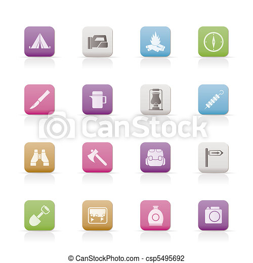 tourism and hiking icons  - csp5495692