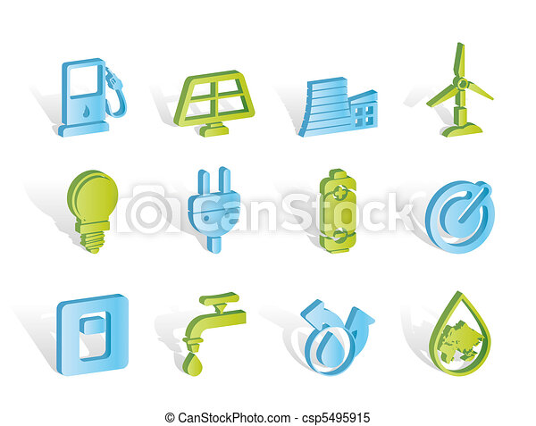 Ecology, power and energy icons  - csp5495915